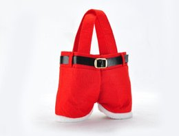 $enCountryForm.capitalKeyWord UK - Hot New Creative Cute Small Red Christmas Decoration Santa Pants Gift Bags Lovely Best Supplies Handmade Wholesale! free shipping TY503