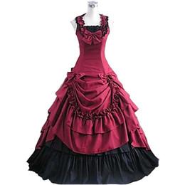 Xxl Red Dresses For Women Canada - Sleeveless Floor-length Red Satin Princess Lolita Dress Victorian dress Southern Belle Costume for women Halloween Cosplay