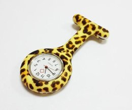 leopard prints watch UK - Silicon Nurse Pocket Watch Candy Colors Zebra Leopard Prints Soft band brooch Nurse Watch 11 patterns Free Shipping New