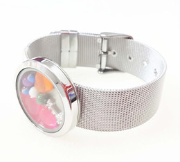 $enCountryForm.capitalKeyWord Canada - 30mm Stainless Steel Silver Plain Round Floating Locket Bracelet with mesh band