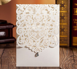 Diamond Invitation Cards Canada - Laser Cut Diamond Wedding Invitations White Wedding Invitation Card Flowers Hollow Wedding Card Free Customized Printing