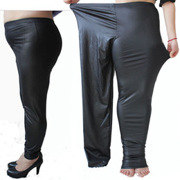 Leggings En Cuir Faux Pour Femme Pas Cher-2014 New Womens 3XL 5XL Plus Size Sexy Faux Leather Stretch Leggings Pantalon skinny Tight Jeggings Pantalons décontractés Vêtements de mode