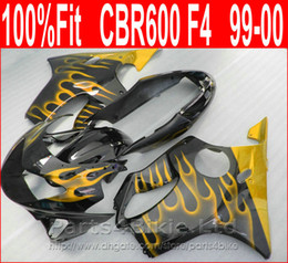 Perfect Yellow Flame Fitment Body Parts For Honda CBR 600 F4 Custom Fairings 1999 2000 Fairing Kit CBR600 99 00 DCNO