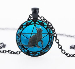 China Black Cat pendant wiccan Necklace collar Wicca Pentagram blue Glass pendant cristal colgante Wicca collar CN1002 cheap wicca crystals suppliers