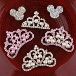 Wholesale 30pcs Vintage Crown Mouse Metal Rhinestone Buttons headbands Bling Alloy Flatback Flower Centre Crystal Buttons For Hair Accessories