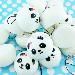 panda cell phone charm 2019 - Wholesale-1PCS 4cm Mini Panda Squishy Charms Kawaii Buns Bread Cell Phone Key Bag Strap Pendant cheap panda cell phone c