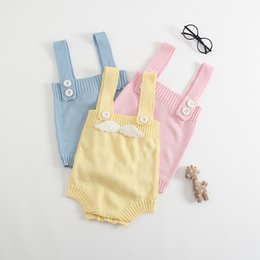 Discount pink overalls for girls - Boutique Baby clothing Angel Knit wool Romper Strap overall Tank rompers for Infants 2019 Spring Summer Hotsale 0-24M BA