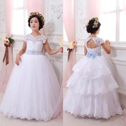 Discount christmas ball caps - White Princess First Communion Flower Girls' Dresses Sheer Crew Neck Cap Sleeves Backless Tiered Skirts Ball Gown P