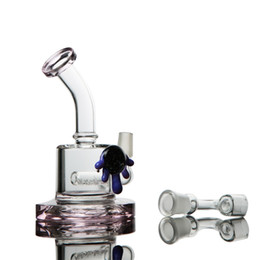 China Cute Turtle shell design 14 mm joint pink bong glass bongs dab rigs water pipe recycler oil rig percolator heady cheap pink glass water pipes percolator suppliers