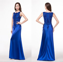 Barato Chinese Royal Plus-Royal Blue Lace Formal Evening Dresses Alta qualidade Lace Beading Pavimento Tocando Fast Shipping Mulheres Chinês Plus Size 2016 Long Party Gowns
