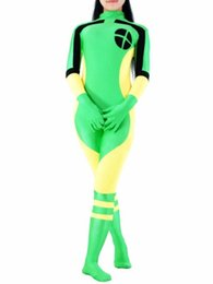 Costume Spandex Jaune Pas Cher-Spandex jaune vert et noir X-men Rogue Superhero Costume Halloween Cosplay party costume zentai