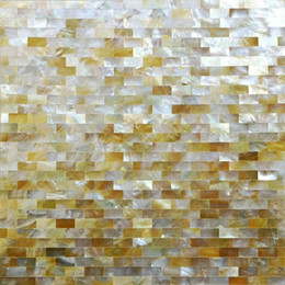 oysters tablet Australia - Gold Mother of pearl tile kitchen backsplash shell mosaic bathroom wall tiles MOP062 10x20 groutless oyster mother of pearl pattern panel