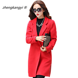 Chaqueta De Lana De Cremallera Roja Baratos-Plus Size 2XL Rojo / Camel Long Winter Coat Mujeres WoolBlend Zipper Jacket Slim Coats Abatible Abrigo Collar Sólido Trench Coat