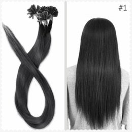 "$enCountryForm.capitalKeyWord Canada - wholesale -200s pack 1g s 14''- 24"" Keratin Stick u Tip Human Hair Extensions Peruvian hair 1# jet black dhl Fast shipping"