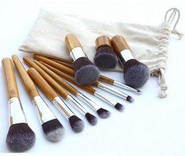 Goat Hair Dhl Canada - 11 PCS Professional High Quality Bamboo Makeup Brush Set Goat Hair Cosmetic Makeup Brushes Kit With Bag DHL 500 sets