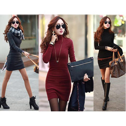 Women Mini Tricot Dress Turtle Neck Korean Clothes Red Black Slim Dresses  Bodycon Casual Cotton Knitted Winter Dress XXL a33e7e9bfe98