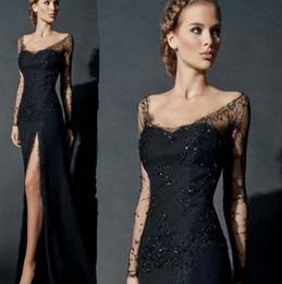 $enCountryForm.capitalKeyWord Canada - Sexy Side Slit Long Sleeves Lace Evening Dress Black Women Chiffon Formal Lace Evening Gowns China robe de soiree abendkleider