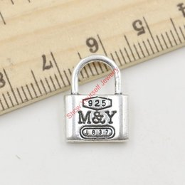 Wholesale 15pcs Hot Sale Antique Silver Love Lock M Y Charms Pendants for Jewelry Making DIY Handmade Craft X13mm Jewelry making DIY