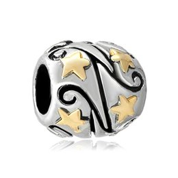 Chamilia gold plated online shopping - 10pcs per Gold plated star round bead European spacer charm fit Pandora Chamilia Biagi bracelet