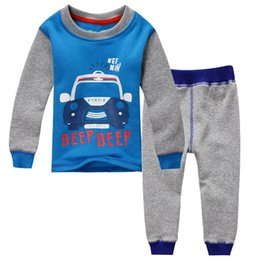 Wholesale Winter Warm Boys clothing set Long sleeve Cartoon Cars Tops pant set Fleece inside Casual clothinig Middle Big Children clothes Autumn T