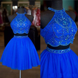 sample gowns 2019 - 2018 Real Sample Blue Red Two Pieces Homecoming Dresses Beads Crystal Halter Chiffon Girls Party Wear Short Prom Gown di
