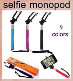 Iphone Tripod Wholesale Canada - wireless monopod for iphone 6 5s samsaung HTC telescopic self timer no remote control selfie stick handle with tripod mount colorful OTH003