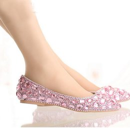 64b07ddef309 Flat Heel Pointed Toe Shoes Colorful Rhinestone Bride Shoes Flats Wedding  Bridal Shoes Silver Red Pink Color Party Dancing Shoes