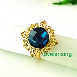 vintage napkin holders 2019 - Lowest Price--50pcs Teal Blue Gold Plated Vintage Style Napkin Rings Wedding Bridal Shower Napkin holder-- Free Shipping