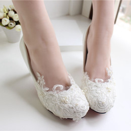 Shoe Flats For Cheap Canada - White Lace Wedding Shoes Kitten Heel Handmade 2015 Bridal Shoes Cheap Custom Made Heel Height Women Shoes for Wedding Bridesmaid Shoes