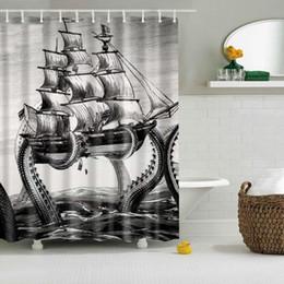 $enCountryForm.capitalKeyWord Canada - Brand New Shower Curtains Creative Bath Curtain With Hooks Digital Printing Sea Monster Sail Boat Bathroom Decor 2 Sizes