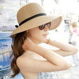 Wholesale Straw Hats For Sale Canada - Wholesale-Hot Sale Classical Simple Design Wide Brim Summer Straw Hat For Women Floppy Sun Cap Beach Free Shipping