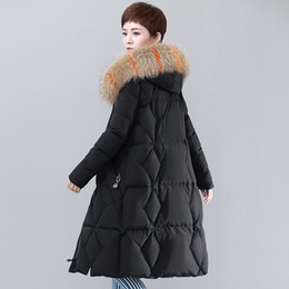 Barato Colares De Racoon-Down Jacket Winter Jacket Mulheres Natural Grande Racoon Fur Collar Hooded Warm Thick Outwear Feminino 90% White Duck Down Coat
