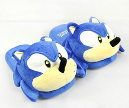 Anime Adult dolls online shopping - Sonic slippers blue Plush Doll inch Adult Plush Sonic Slippers
