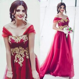 model fairy garden UK - Fairy Middle East Off Shoulder Wedding Dresses Gold Applique A Line Bridesmaid Dresses China Saudi Arabia Long Tulle Formal Gowns