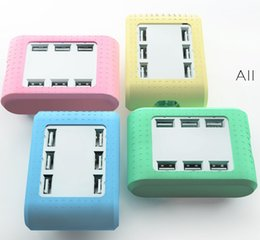 Discount portable multi usb chargers - Wholesale-6 Port Usb Mini Mobile Phone Charger Usb Multi Charger Detachable Portable Digital Accessories Usb Charger Cab