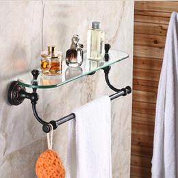 $enCountryForm.capitalKeyWord Canada - Wholesale And Retail Luxury Bathroom Shelf Oil Rubbed Bronze Flower Carved Glass Shelf Tier W  Towel Bar Wall Mounted