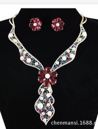 Wedding Crystal Bride Necklace Set Canada - more color crystal pearl wedding bride set necklace earings (88) fdf