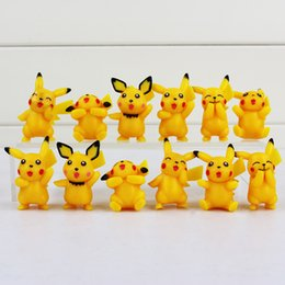 Figures Canada - Pikachu Q Version Mini Figure Toys PVC Doll Collective Toys Best Gifts For Children 12pcs set 3.5-5cm Free Shipping