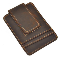 China Simple Design Magnet Men Wallet Money Clip Crazy Horse Leather Hot Sales Design European And American suppliers