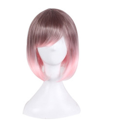 $enCountryForm.capitalKeyWord UK - Women Cosplay Short Animation Bob Hair Ombre Black Pink Side Bang Colorful Women Synthetic Wig