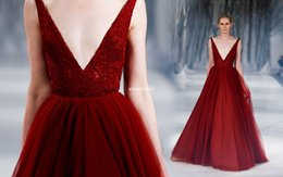 Wedding Gown Tulle Jacket Canada - Burgundy Ball Gown Prom Dresses Vintage Lace Deep V Neck Floor Length Tulle 2016 Paolo Sebastian Wedding Party Evening Gowns Pageant Dresses