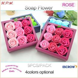 Gift Shaped Soap Canada - H.P.W Gift 9pcs pack Handmade box soap base Romantic Rose Flower Petal Shape Nature Essential Oil Bath Soap, base soap roses