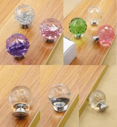 Pull Handles Crystals Canada - 3 Different Styles Round Diamond Clear Crystal Glass Door Pull Drawer Knob Handle Cabinet Furniture 10pcs