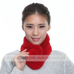 Wholesale Fur Scarf for Women Real Rex Rabbit Fur Ring Ball Scarf Lady Neckerchief Warm Neck Scarves New Winter Fashion Natrual Real