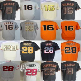 Negro 5xl Baratos-Cheap Men Lady Kid Toddler San Francisco 28 Buster Posey Hunter Pence 16 Angel Pagan Tim Lincecum Negro Blanco Naranja Beige Gris Jerseys