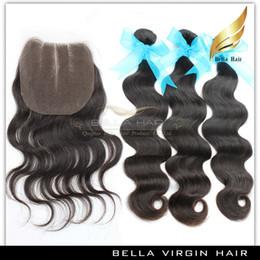 bella hair bundles 2019 - Body Wave Hair Bundles With Colsure Virgin Indian Human Hair 3 Part Lace Closure Grade 9a Hair Weft Natural Color 8-30 I