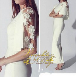 $enCountryForm.capitalKeyWord NZ - Elegant White Sheath Evening Dresses Custom Made Jewel Neck 1 2 Sleeves with Appliques Ankle-Length Party Gowns 2016 Hot Sale