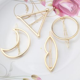 Coral Hair Accessories Australia - Women Girls Fashion Hairpins Hollow Circle Lip Moon Triangle Hair Clip Barrette Wedding Party Hair Accessories Tiara Gold Plated