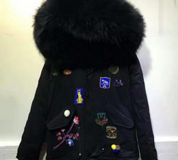 $enCountryForm.capitalKeyWord Canada - Flower Embroidery Meifeng brand Black fur trim rabbit fur lining black mini parka Patch Designs furs cold snow jackets with raccoon fur