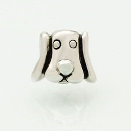 $enCountryForm.capitalKeyWord Australia - Alloy Material With Rhodium Silver Color Plating cute puppy dog head Bead Black Enamel Charm Fit Pandora Bracelet